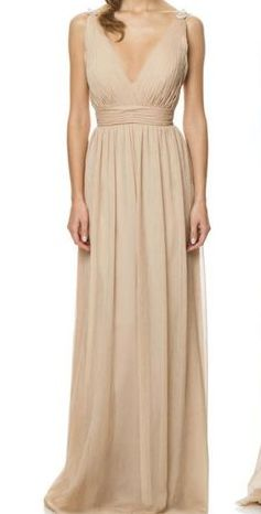 Beige V Neck Maxi Gown