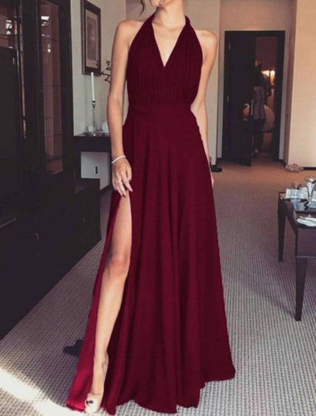Glam Slit V Neck Maxi Dress