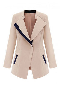 Beige Coat with Black Piping Blazer