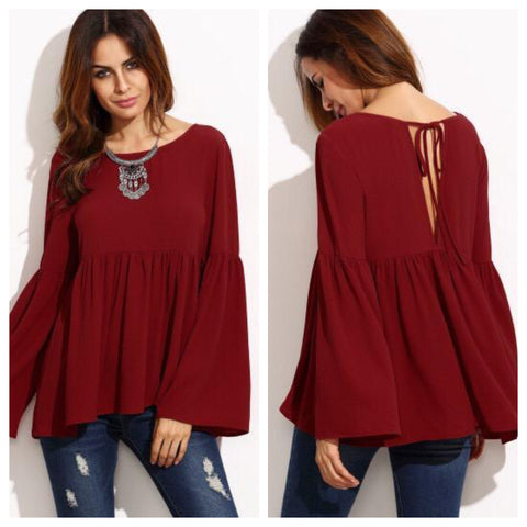 Blood Red Maroon Bell sleeves Top
