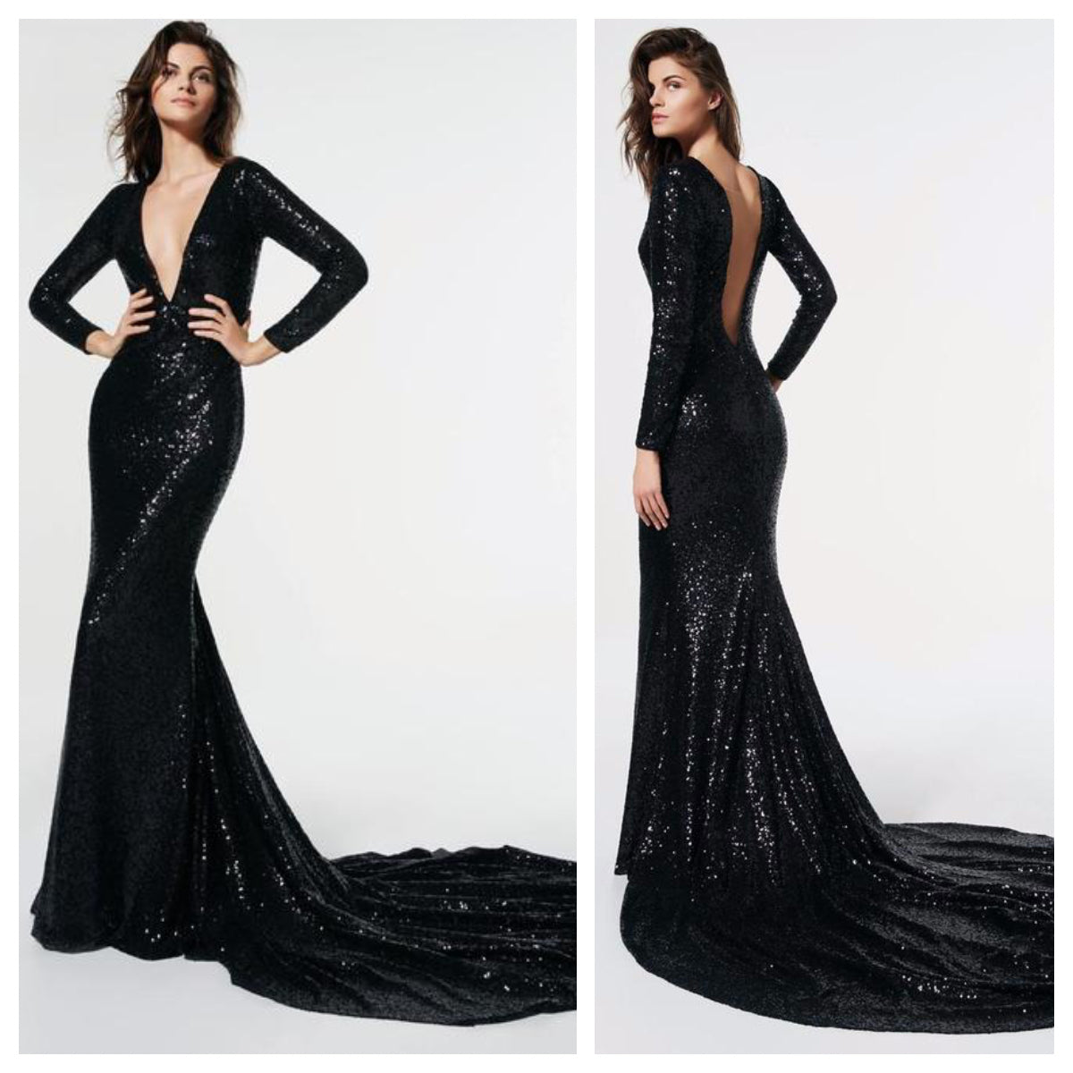 Black Sequins Trail Gown