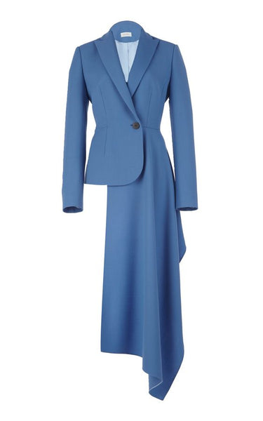 Solid Blue Enigma Coat Dress