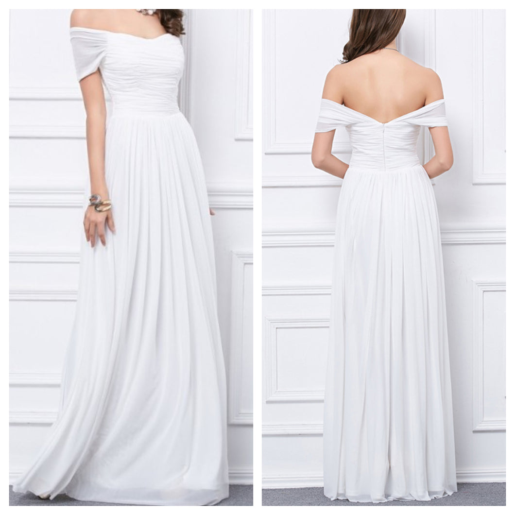 White Off Shoulder Maxi Dress