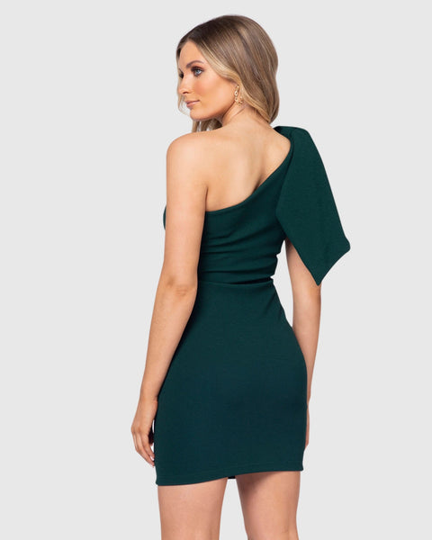 Green Off Shoulder Mini Dress