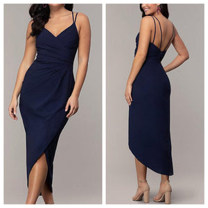 Navy Formal 3/4th Asymmetrical Dress