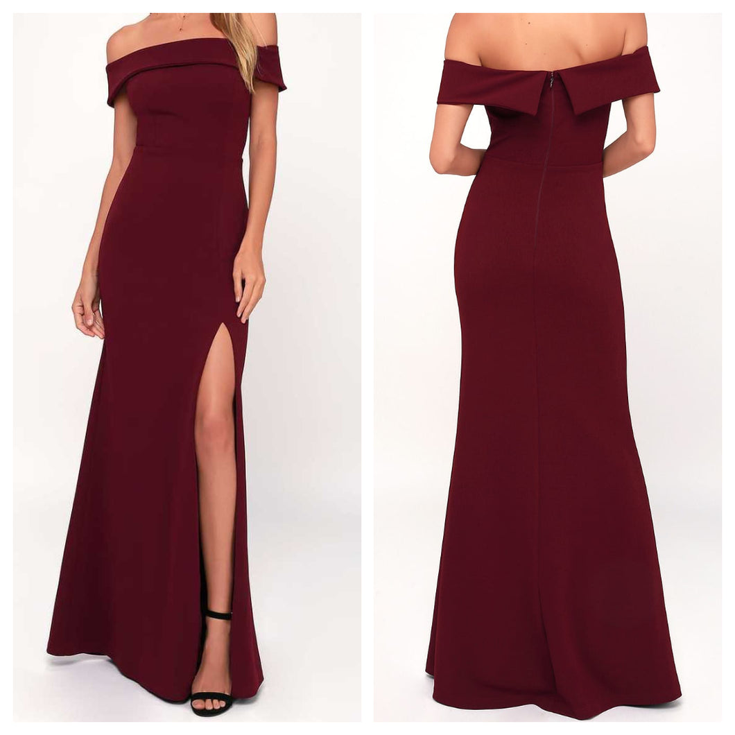 Maroon Scuba Off Shoulder Maxi Dress
