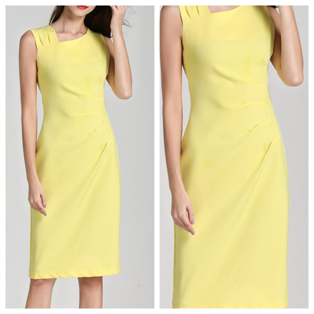 Pastel Yellow Summer Midi Dress