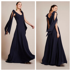 Navy Blue Tie Up Sleeves Maxi Dress