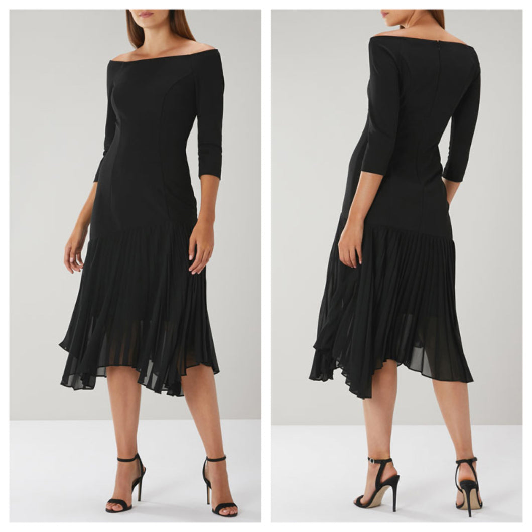 Black Frill Asymmetrical Kneelength Dress