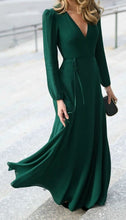 Green Flared V Neck Puffer Sleeves Dress