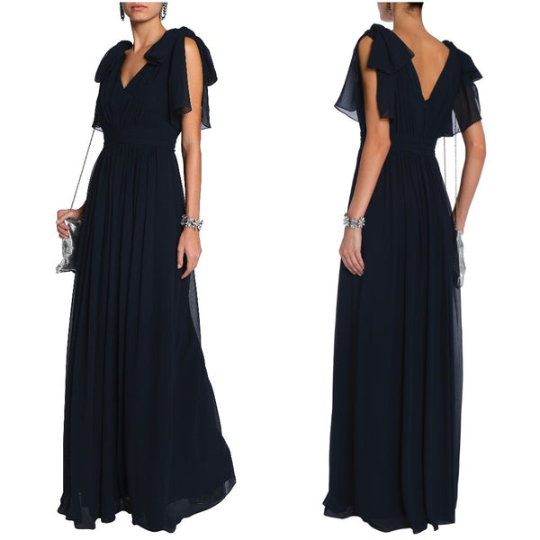 Ruffle Sleeves Navy Maxi Dress