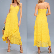 Yellow Lace Asymmetrical Dress