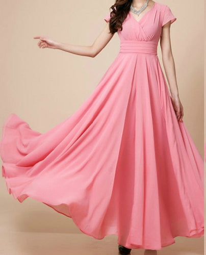 Baby Pink Flared Long Maxi Dress