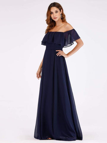 Navy Off Shoulder Frilled Long Maxi Dress