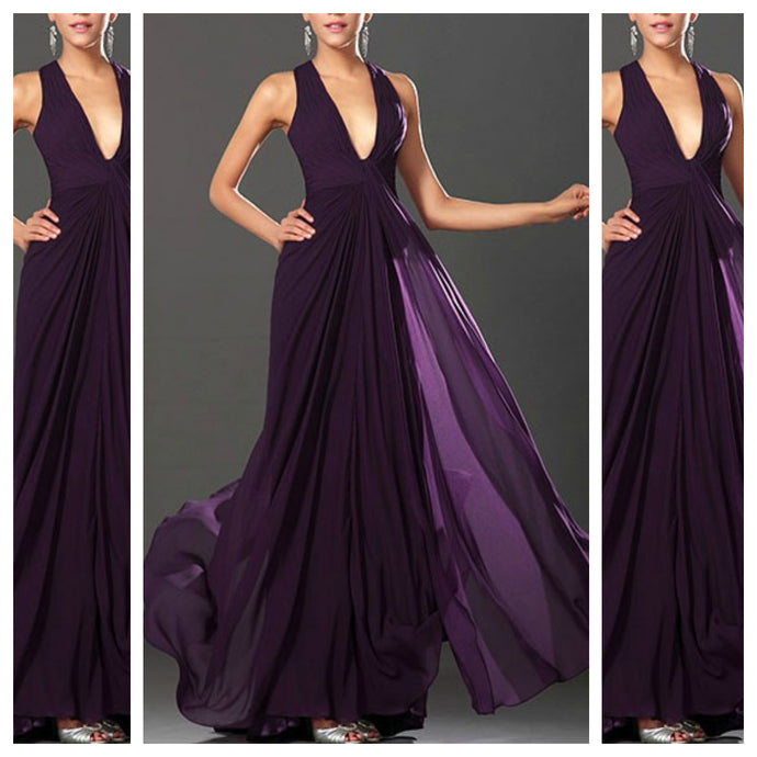 Draped Purple Maxi Dress