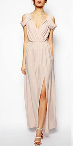 Draped wrap front maxi dress