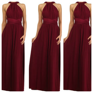 wine draped maxi dress