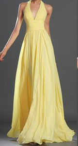 YELLOW HALTER NECK LONG DRESS