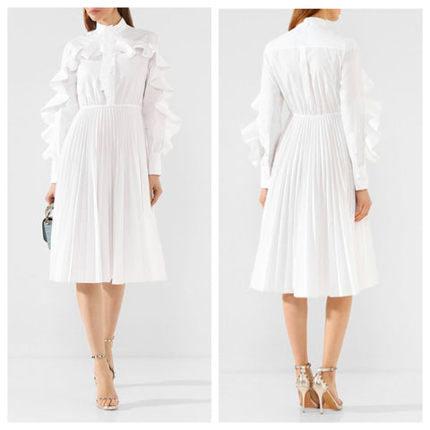 White Pleated Full Sleeves Ruffle midi Dress