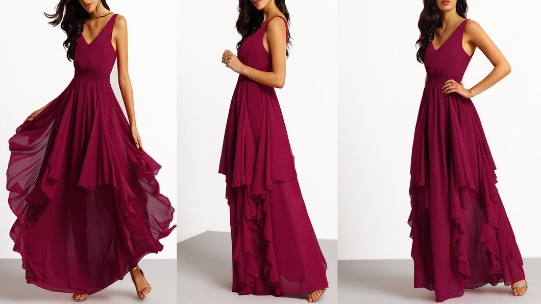 Wine Asymmetrical Maxi Dress