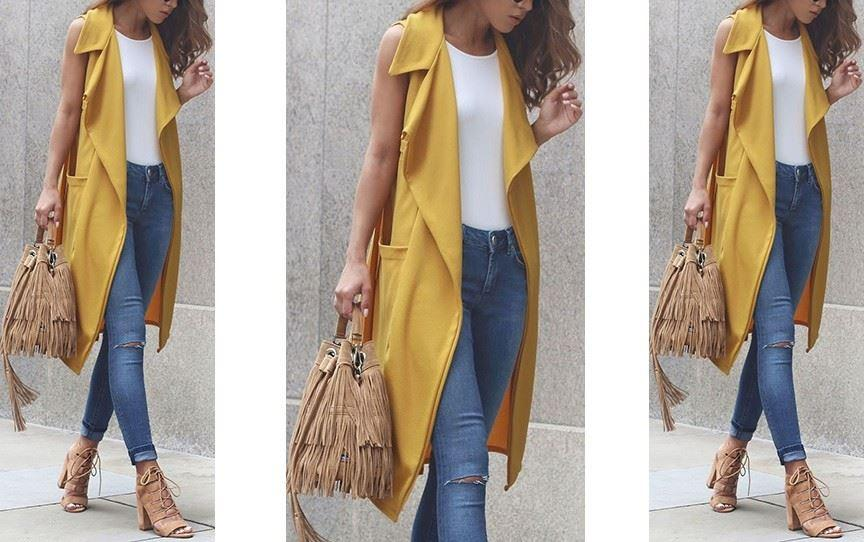 Yellow Sleeveless Kneelength Jacket