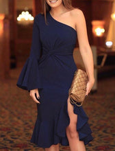Navy Blue Slit Flared Sleeves Midi Dress