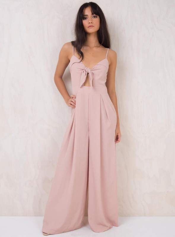 Pink Tie Up Flared Bottom Jumpsuit