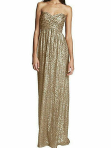Golden Sequins Tube Maxi Dress
