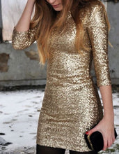 Golden Sequins Full Sleeves Midi Dress