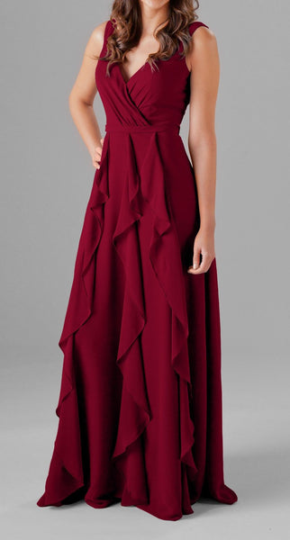 Wine Cut Out Ruffles Maxi Dress