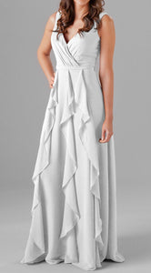 Six Frills Cut Work Maxi Dress