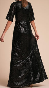 Black Sequins V Neck Maxi Dress