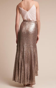 Dull Gold Sequins Skirt Set with Top