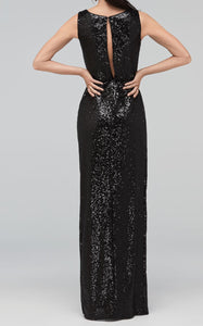Black Sequins Slit Dress