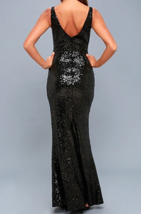 Black Sequins V Neck Bodycon Maxi Dress