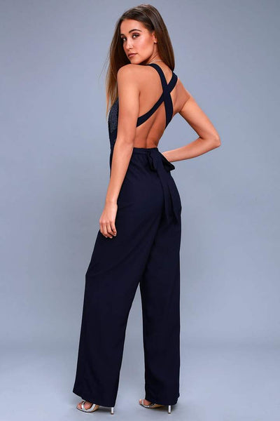 Shimmer Midnight Navy Backless Jumpsuit