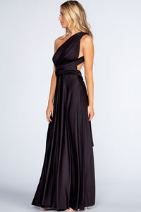 Black Satin Backless Maxi Dress