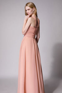 Peach Draped Maxi Dress