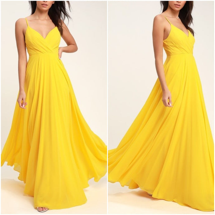 Yellow Ruched Maxi Dress