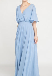Sky Blue V Back Maxi Gown
