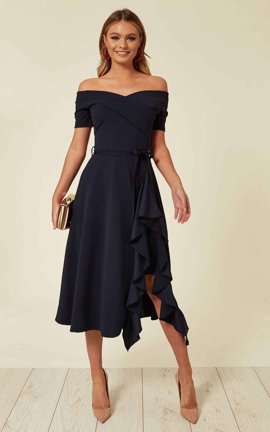 Exclusive Bardot Off Shoulder Frill Midi Dress Navy