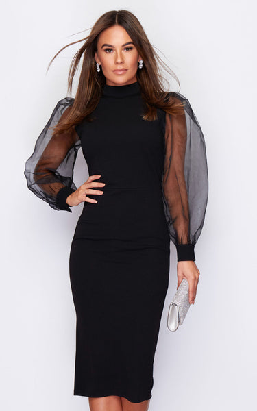 Juliet Puff Net Sleeve Midi Dress Black