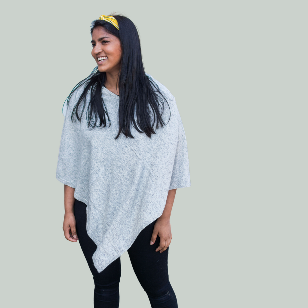 Poncho - med CASHMERE - Lys brun/ sand