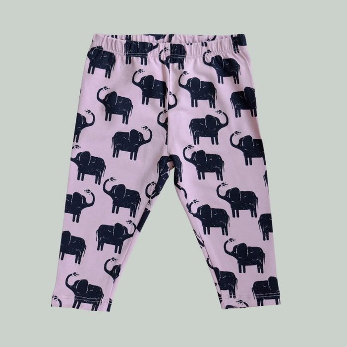 GOTS - LEGGINGS - BØRN -ELEFANT - ROSA/SORT