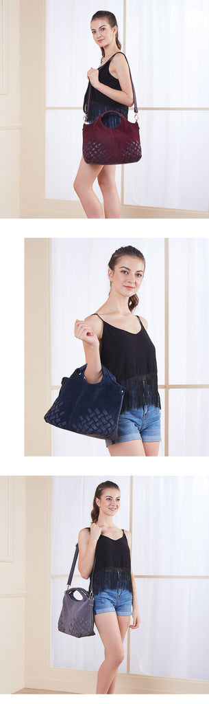 Latest Women Weave Suede Split Leather Handbag Female Leisure Casual Lady  Crossbody Shoulder Bag Messenger Top b4f51a5e71292