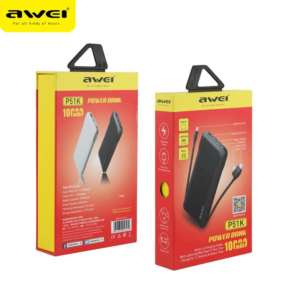 AWEi P51K Lithium Ion Polymer Super Thin QC Portable RoHS Charger Powerbank  10000 Mah