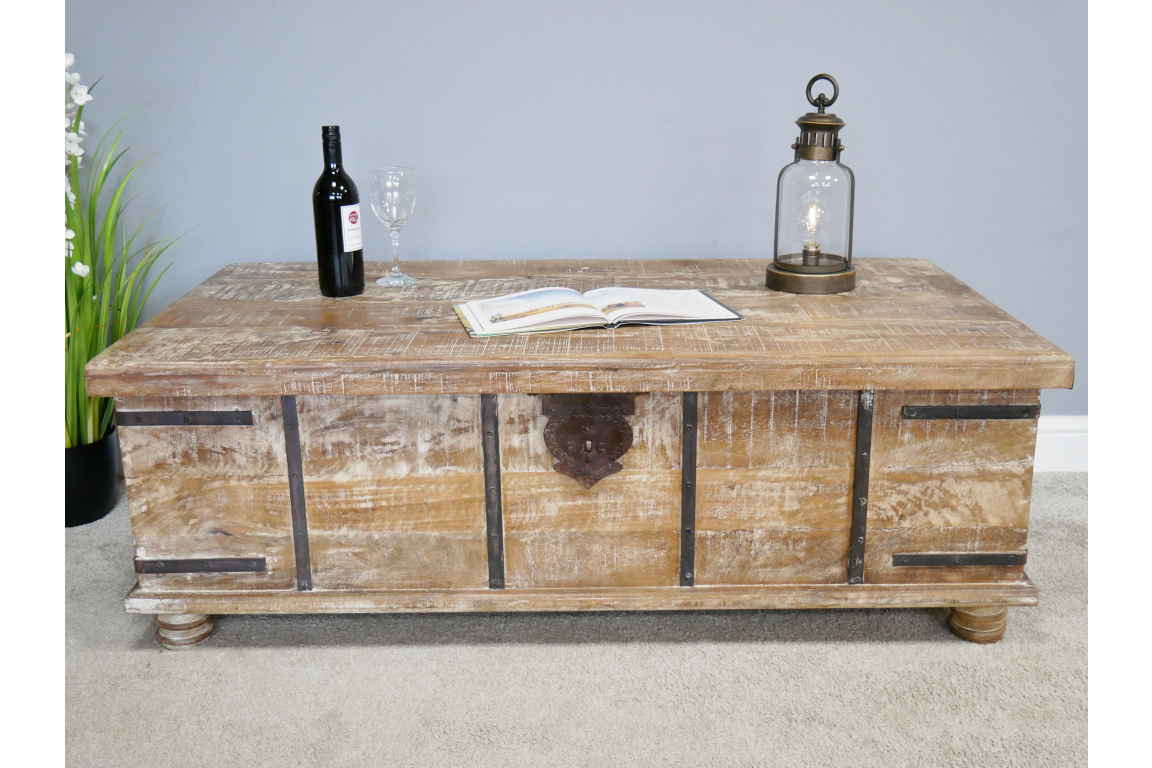 Rustic Industrial Storage Trunk Coffee Table Lambert Sons Interiors