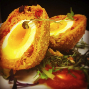 Close Leece Farm Chorizo Scotch Egg at Macfarlane's restaurant https://instagram.com/p/BdNctsilKRX/