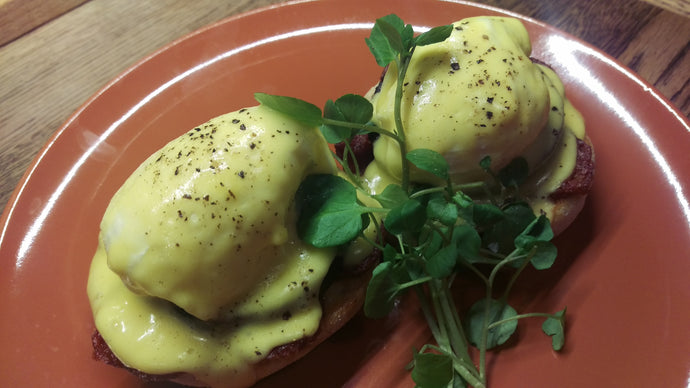 Manx Chorizo from Close Leece farm, black pudding, toasted English muffins, poached free range eggs and oozy hollandaise - available as a special at The Eatery, Duke Street, Douglas.