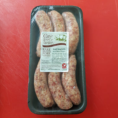 Manx Dragon Premium Rare Breed Tamworth Pork Sausages - available in IOM ONLY